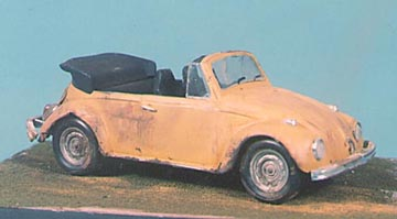 The same 1/25th scale Volkswagen Cabriolet after weathering with Marmo's Magic Dust.